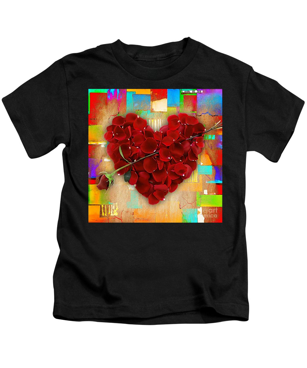 Rose Kids T-Shirt featuring the mixed media Roses Collection by Marvin Blaine
