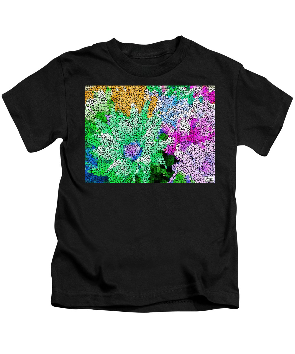 Abstract Kids T-Shirt featuring the painting Stained Glass Flowers by Bruce Nutting