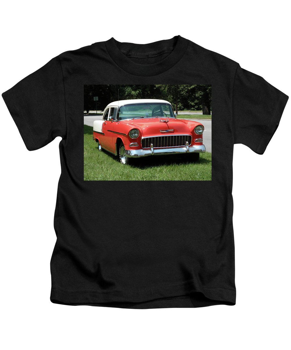 55 Kids T-Shirt featuring the photograph 55 Chevy by Frank Romeo