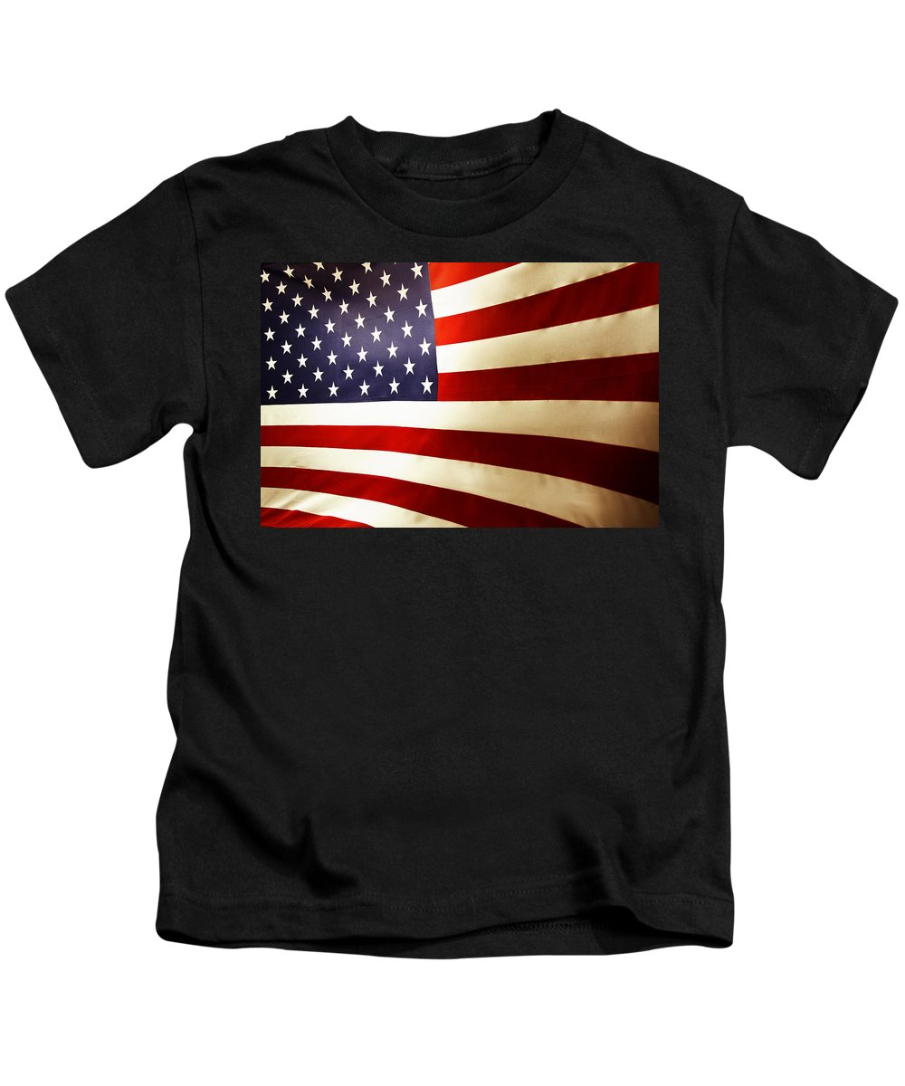 Flag Kids T-Shirt featuring the photograph American Flag by Les Cunliffe