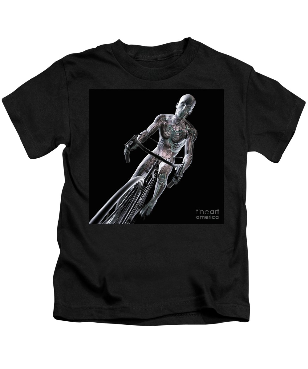 3d Visualisation Kids T-Shirt featuring the photograph Cycling by Science Picture Co