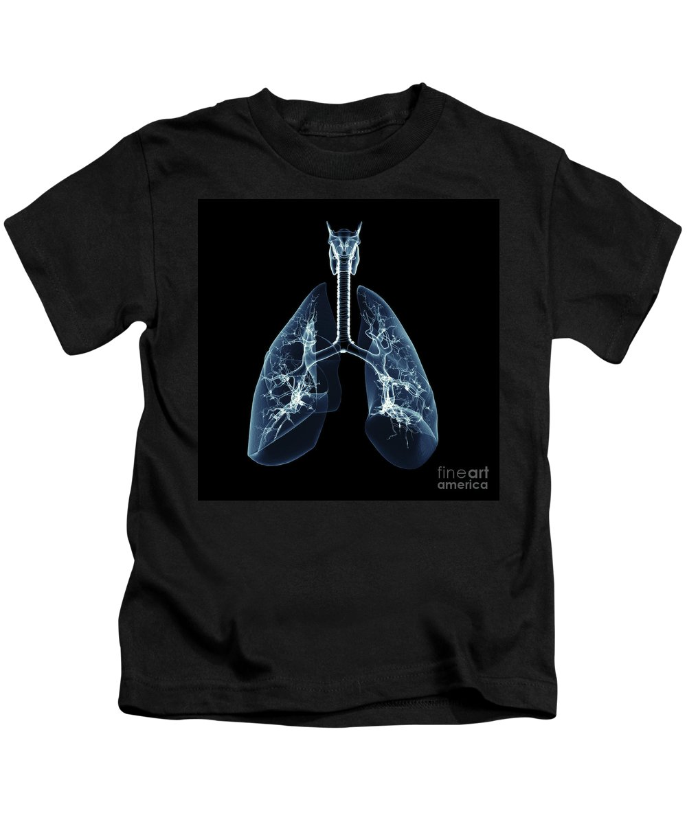 Digitally Generated Image Kids T-Shirt featuring the photograph Human Lungs by Science Picture Co