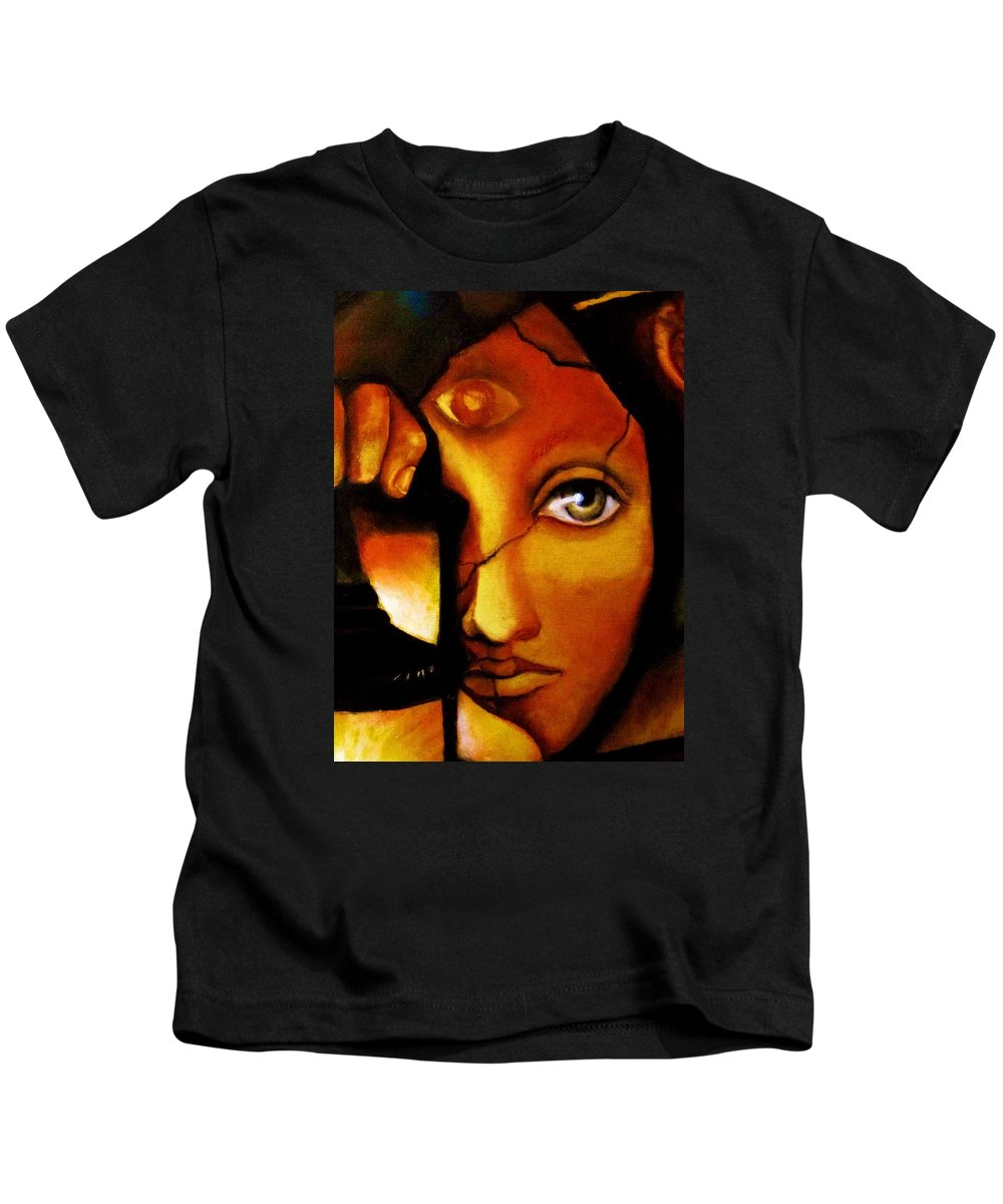 Original Painting Kids T-Shirt featuring the painting The Seeker by Dalgis Edelson
