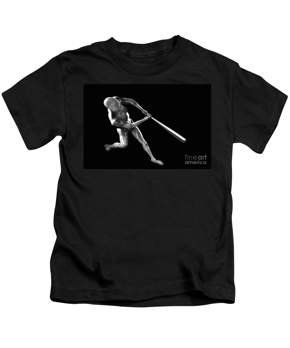 3d Visualisation Kids T-Shirt featuring the photograph Baseball Swing by Science Picture Co