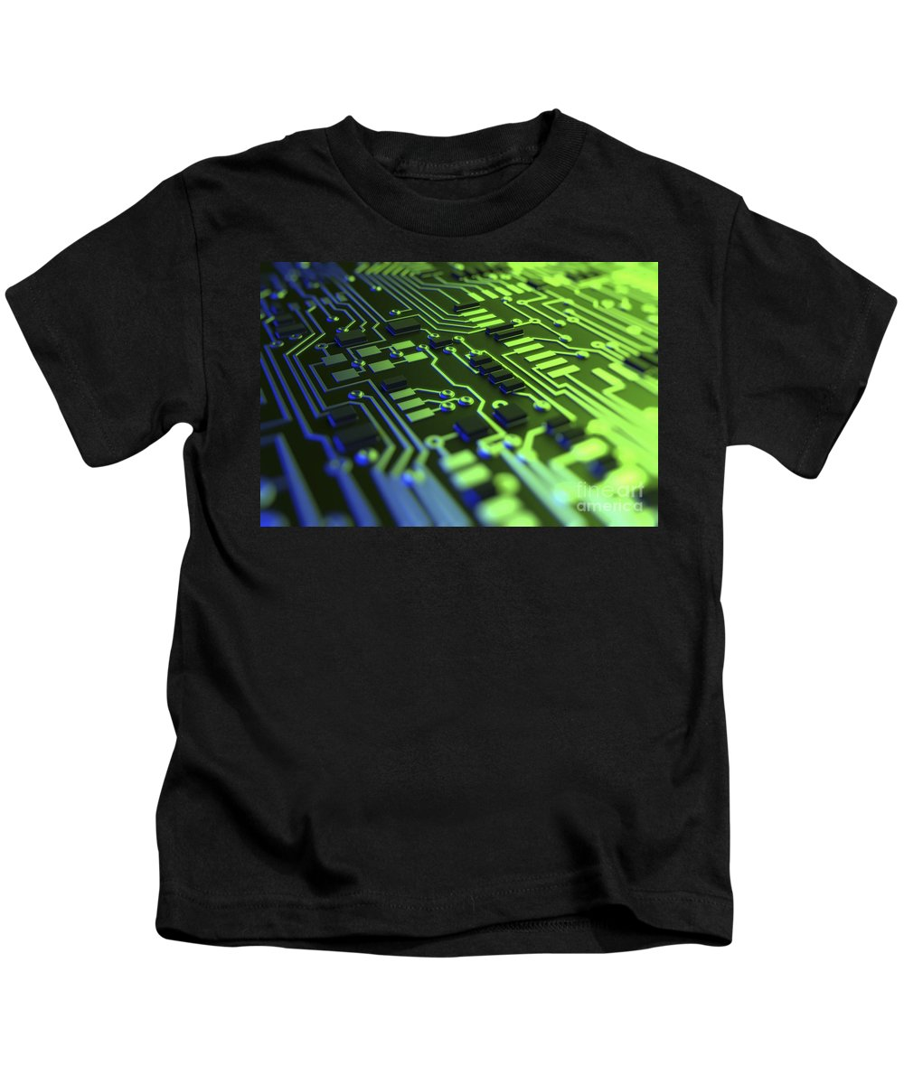 Information Transfer Kids T-Shirt featuring the photograph Circuit Board by Science Picture Co