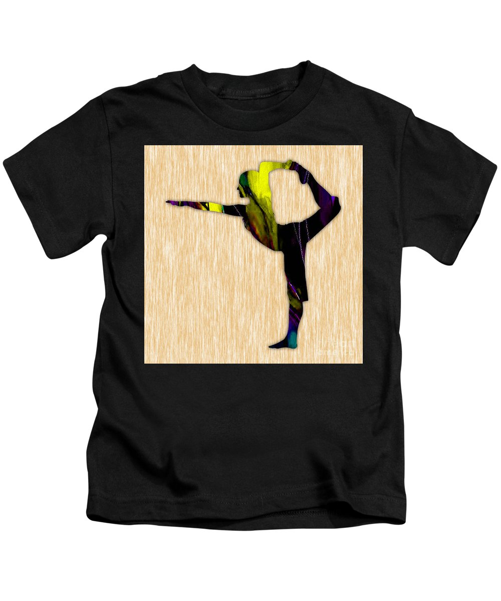 Yoga Kids T-Shirt featuring the mixed media Fitness Yoga by Marvin Blaine