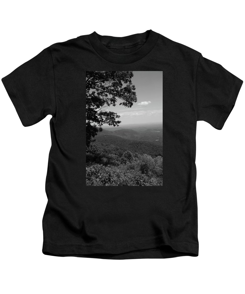 America Kids T-Shirt featuring the photograph Blue Ridge Mountains - Virginia Bw by Frank Romeo