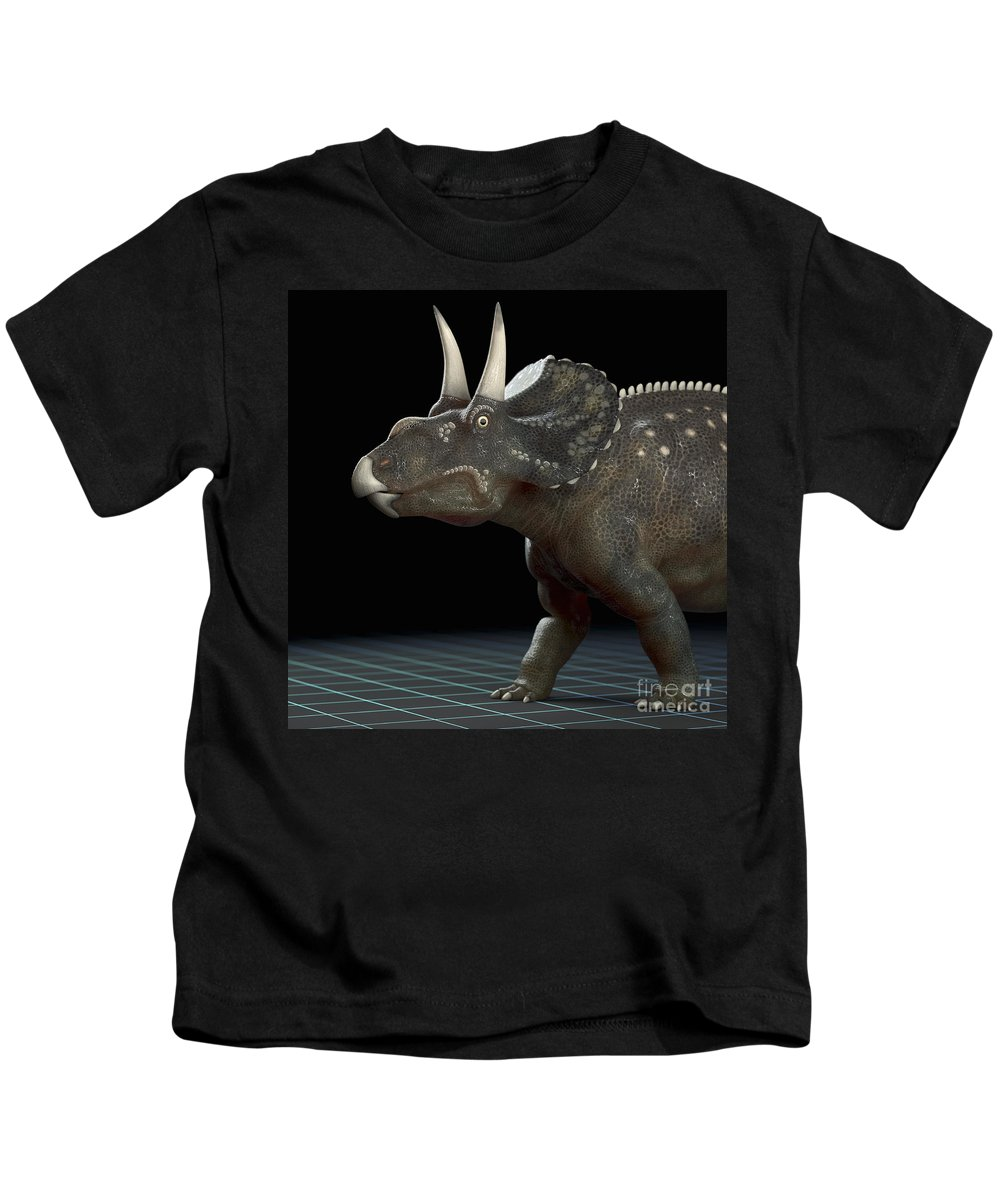 Extinction Kids T-Shirt featuring the photograph Dinosaur Diceratops by Science Picture Co