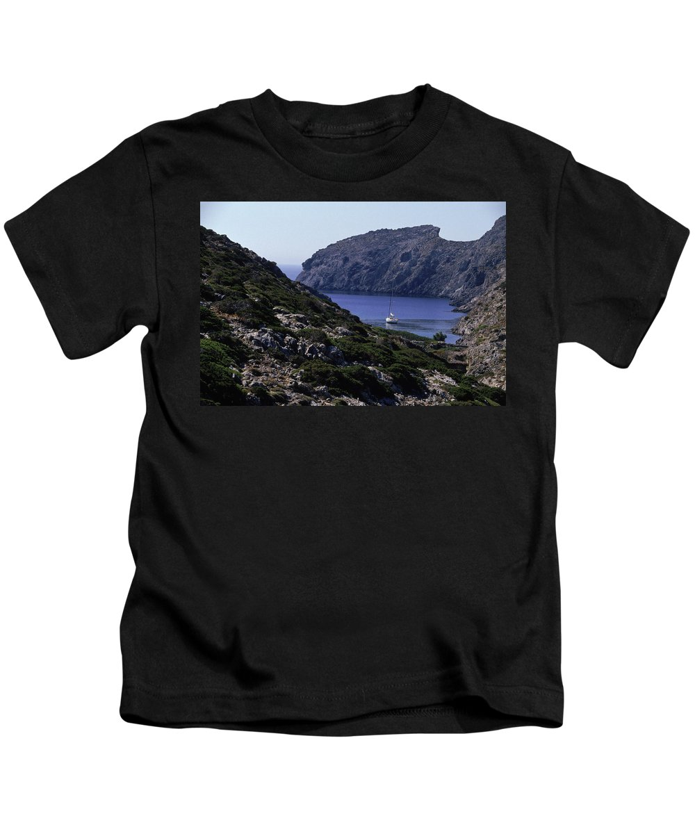 Boat Kids T-Shirt featuring the photograph A Boat Sailing In The Valley by Joanna B. Pinneo