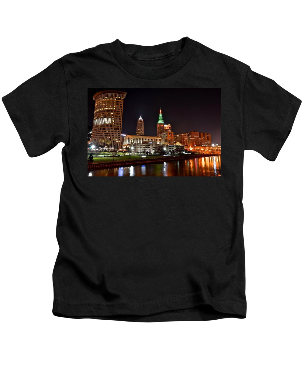 Cleveland Kids T-Shirt featuring the photograph A Cleveland Night by Frozen in Time Fine Art Photography