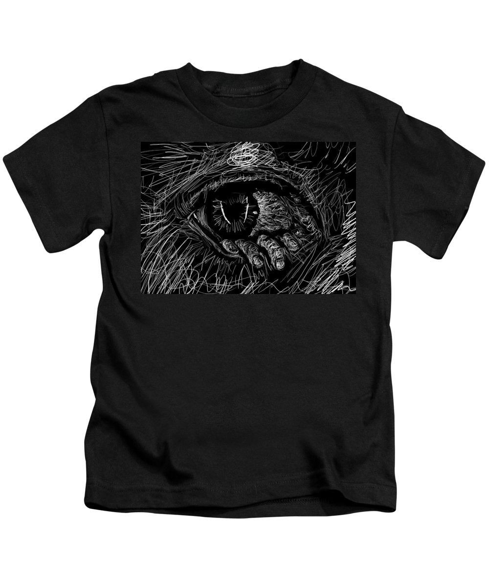 Monochrome Kids T-Shirt featuring the digital art A Dark Ray Of Hope by Danaan Andrew
