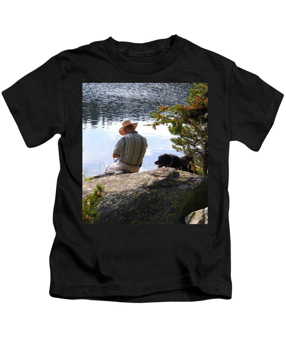Man Kids T-Shirt featuring the photograph A Man And His Dog by Laurel Talabere