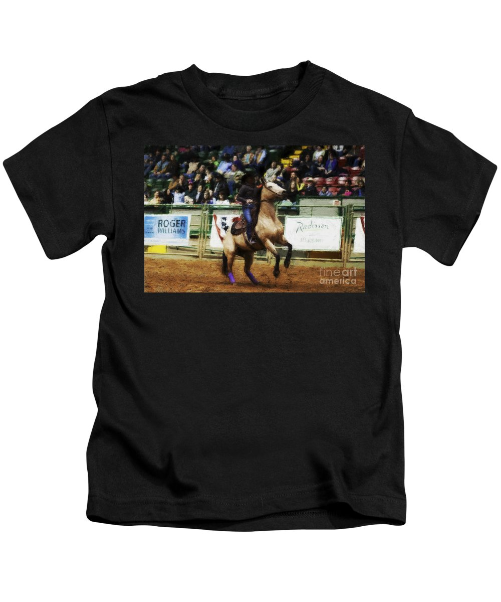 Night Kids T-Shirt featuring the photograph A Night At The Rodeo V29 by Douglas Barnard
