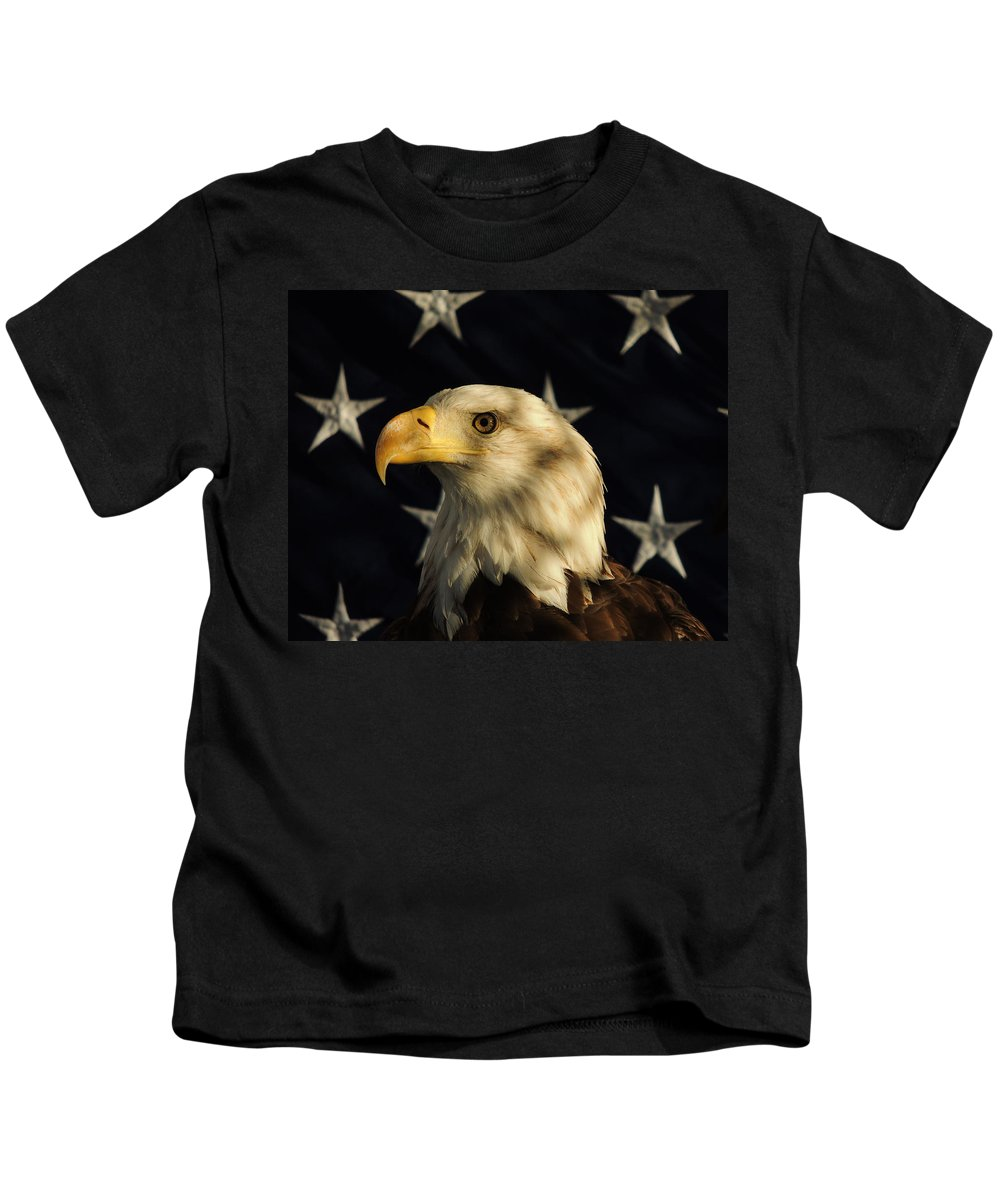 Eagle Kids T-Shirt featuring the photograph A Patriot by Raymond Salani III