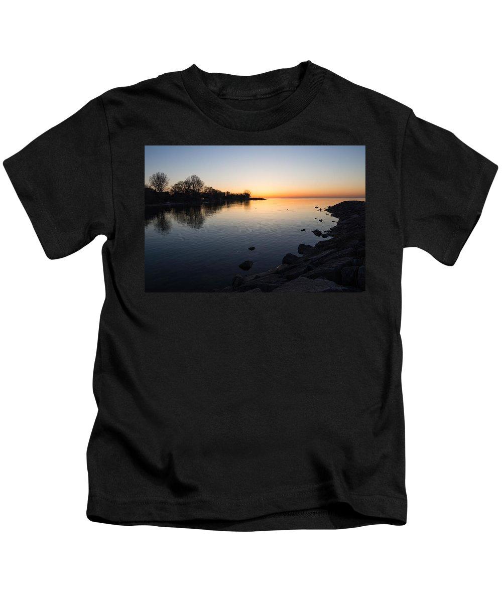 Lake Kids T-Shirt featuring the photograph A Quiet Sunrise - Toronto Lake Ontario by Georgia Mizuleva