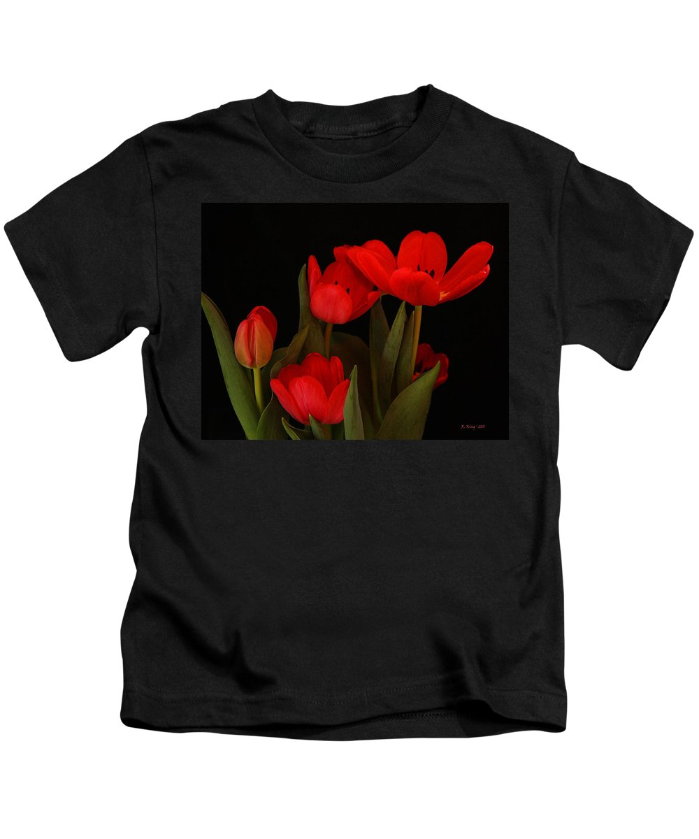 Roena King Kids T-Shirt featuring the photograph A Red Tulip Day by Roena King
