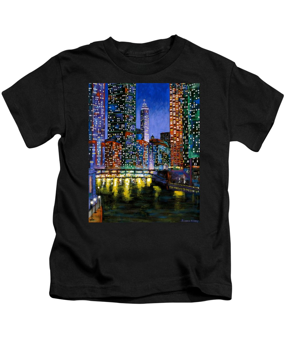 Chicago River Kids T-Shirt featuring the painting A River Runs Through It by J Loren Reedy