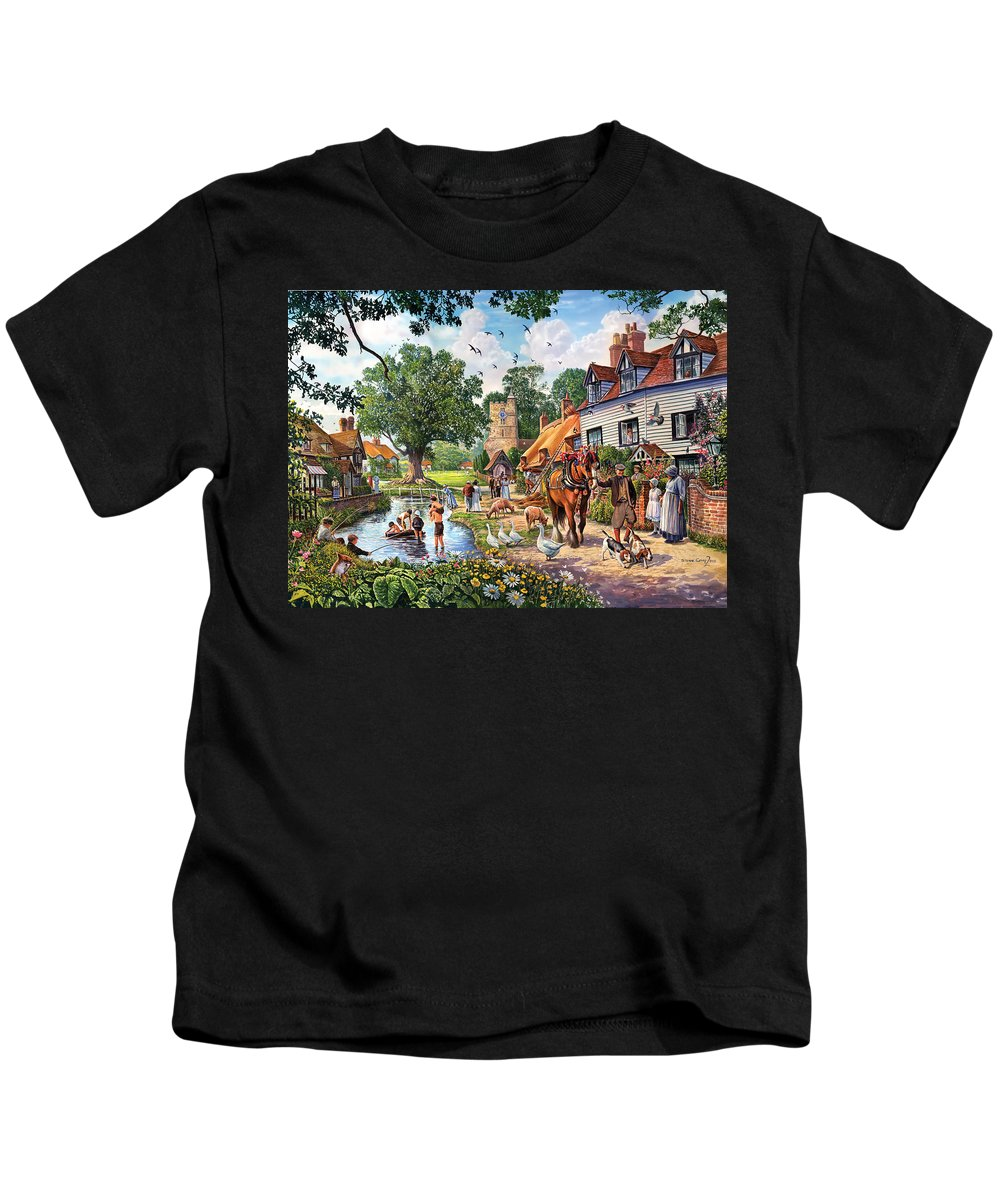 Animal Kids T-Shirt featuring the photograph A Village In Summer by Steve Crisp
