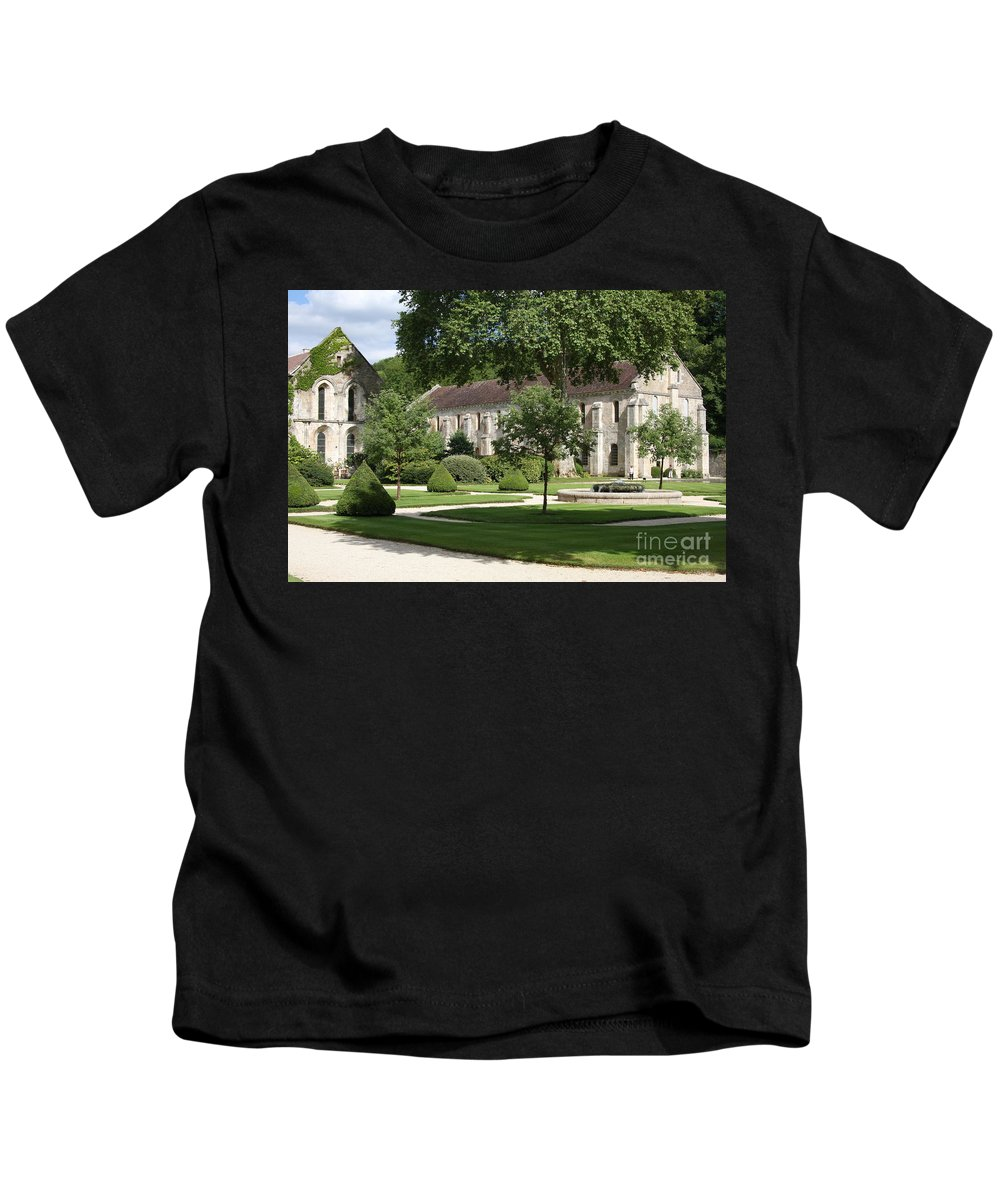 Abbey Kids T-Shirt featuring the photograph Abbey Fontenay Burgundy by Christiane Schulze Art And Photography