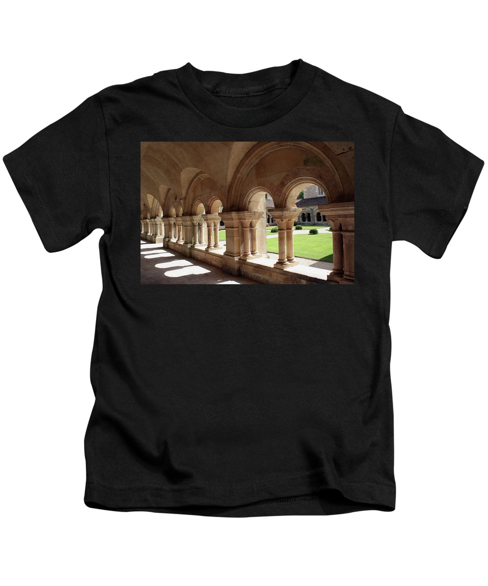 Cloister Vault Kids T-Shirt featuring the photograph Abbey Fontenay - Cloister Vault by Christiane Schulze Art And Photography