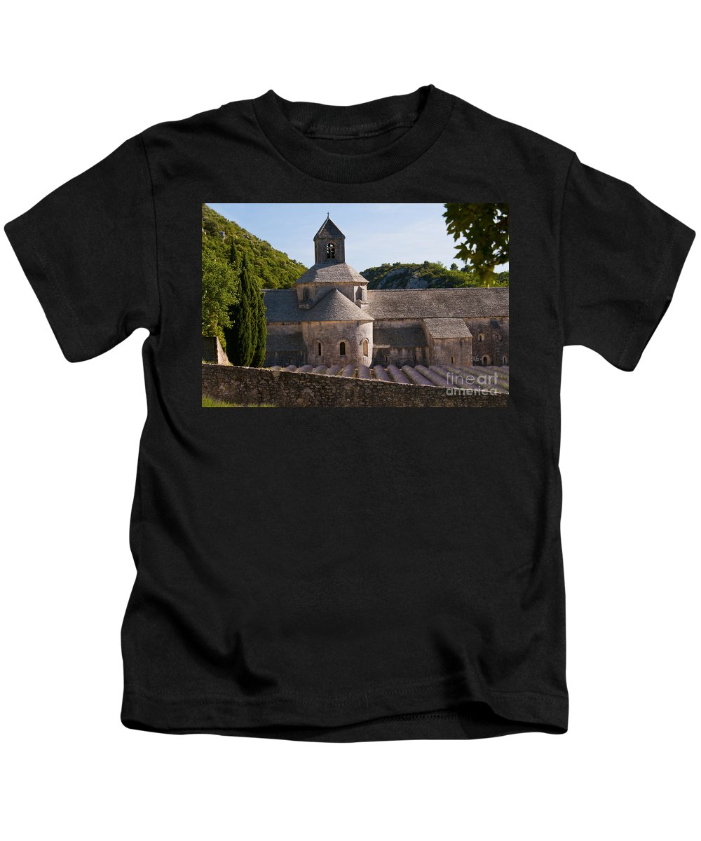 Sénanque Abbey Kids T-Shirt featuring the photograph Abbey In Provence by Bob Phillips