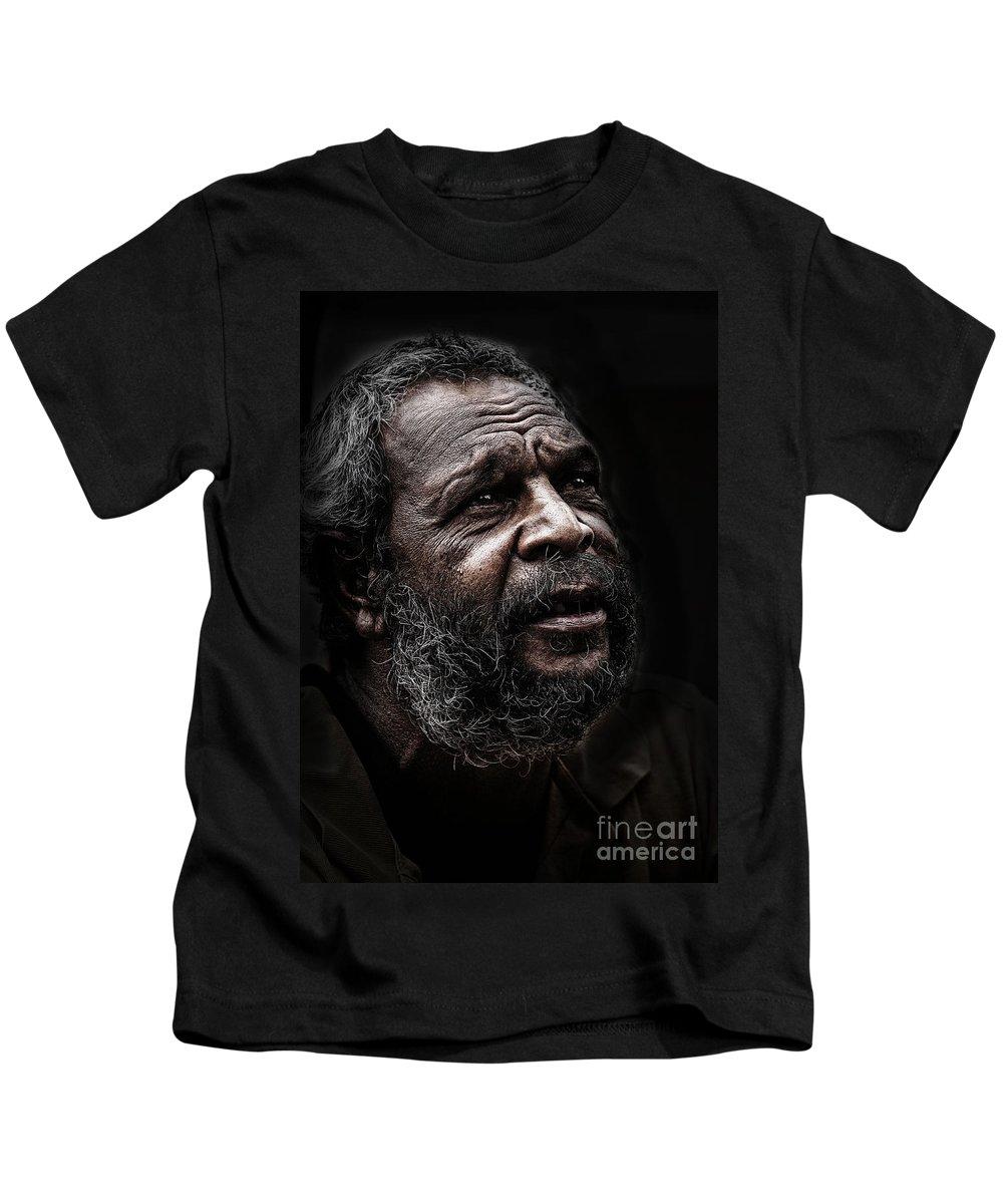 Australian Aboriginal Man Kids T-Shirt featuring the photograph Aboriginal man by Sheila Smart Fine Art Photography