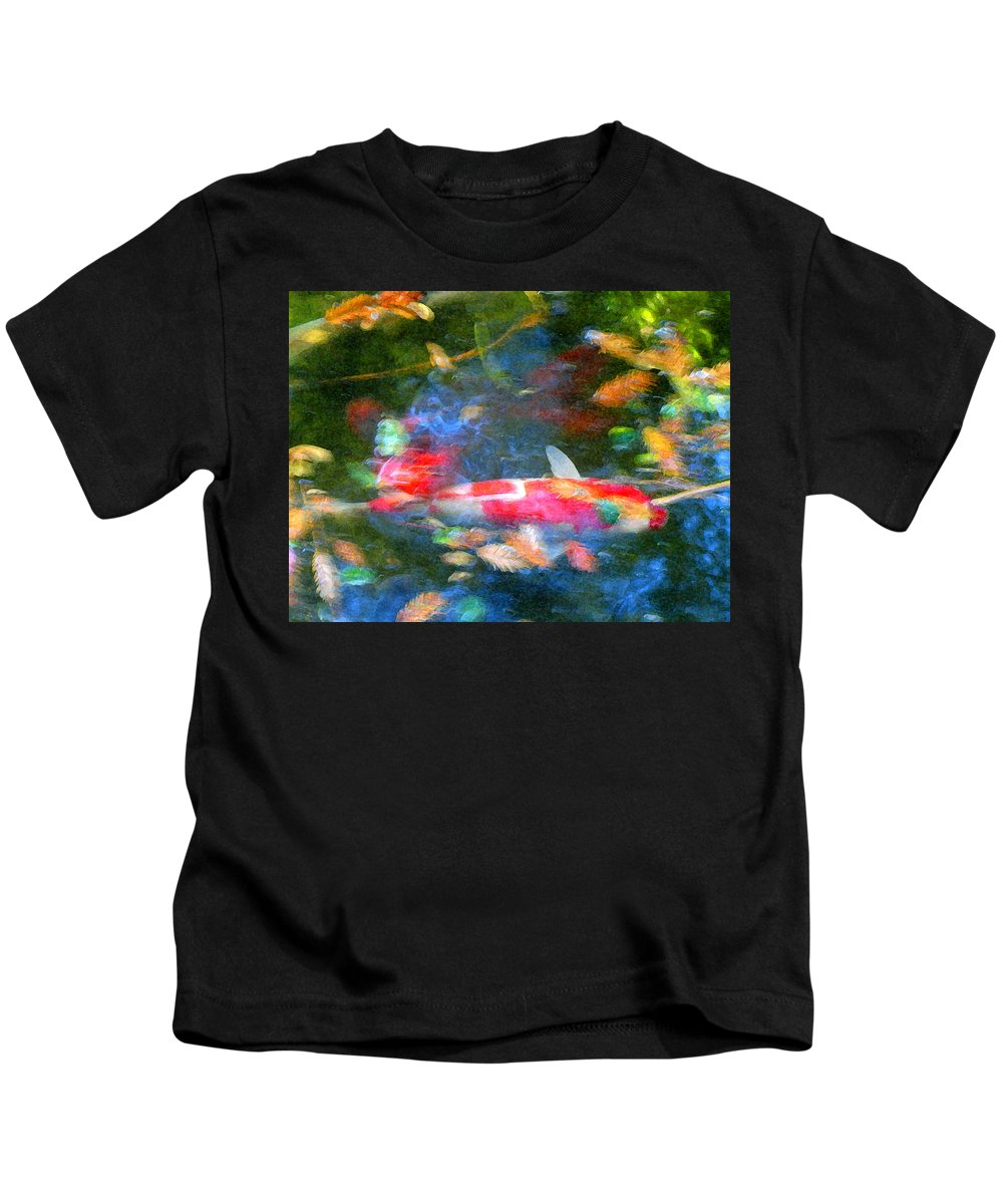 Animal Kids T-Shirt featuring the painting Abstract Koi 1 by Amy Vangsgard