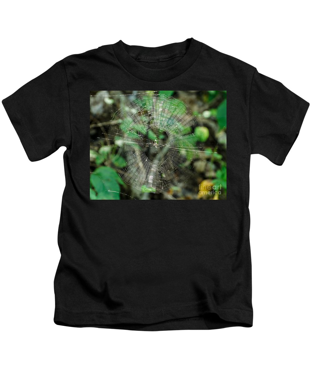 Spider Web Kids T-Shirt featuring the photograph Abstract Spider Web by Donna Brown