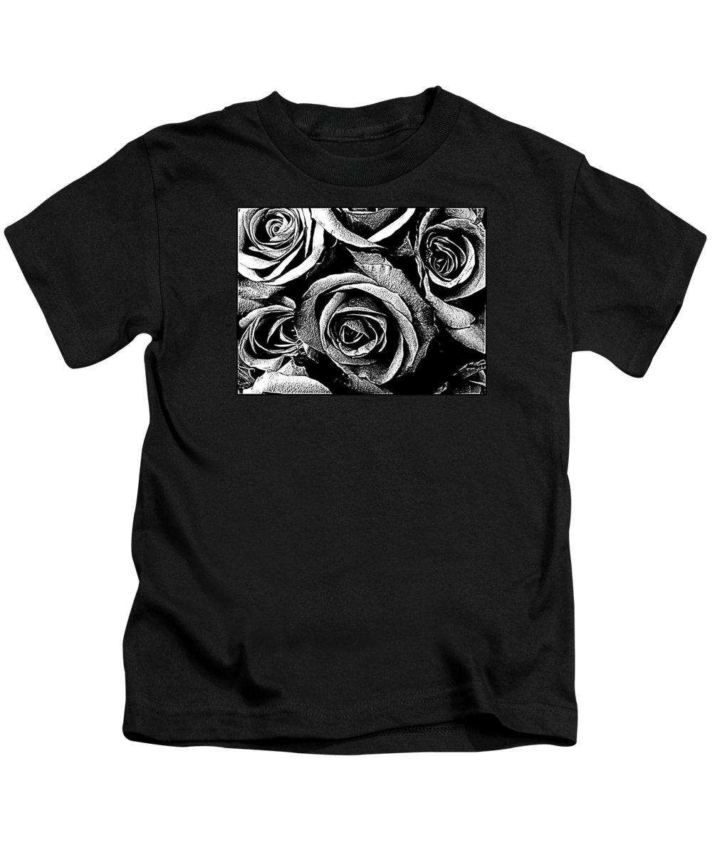 Roses Kids T-Shirt featuring the photograph Dark Star Roses For David Bowie by Kathy Barney