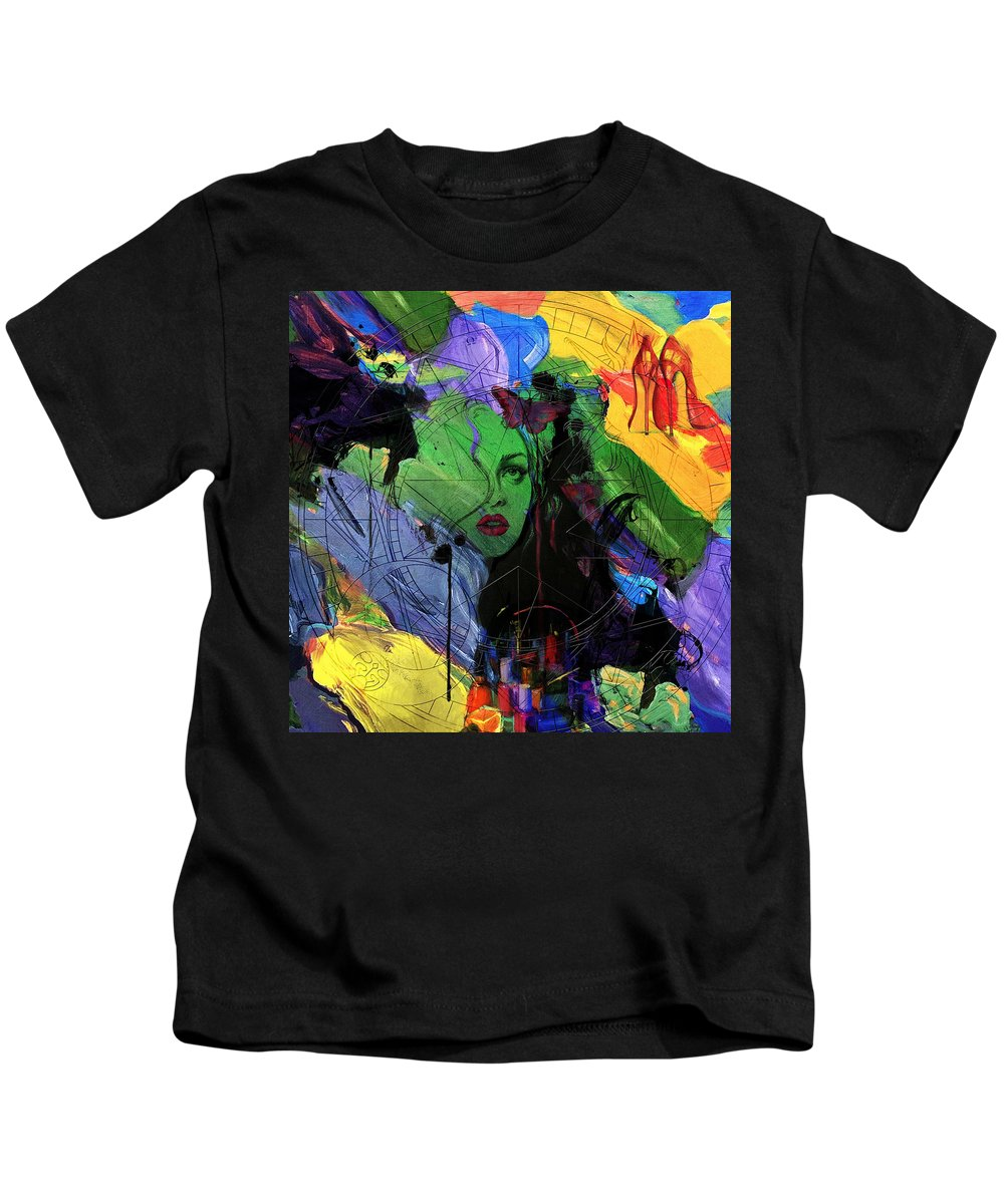 Women Kids T-Shirt featuring the painting Abstract Women 014 by Corporate Art Task Force