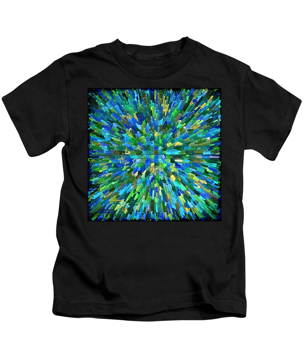 Abstract Kids T-Shirt featuring the digital art Abstrract Cubes Blue by Kurt Van Wagner