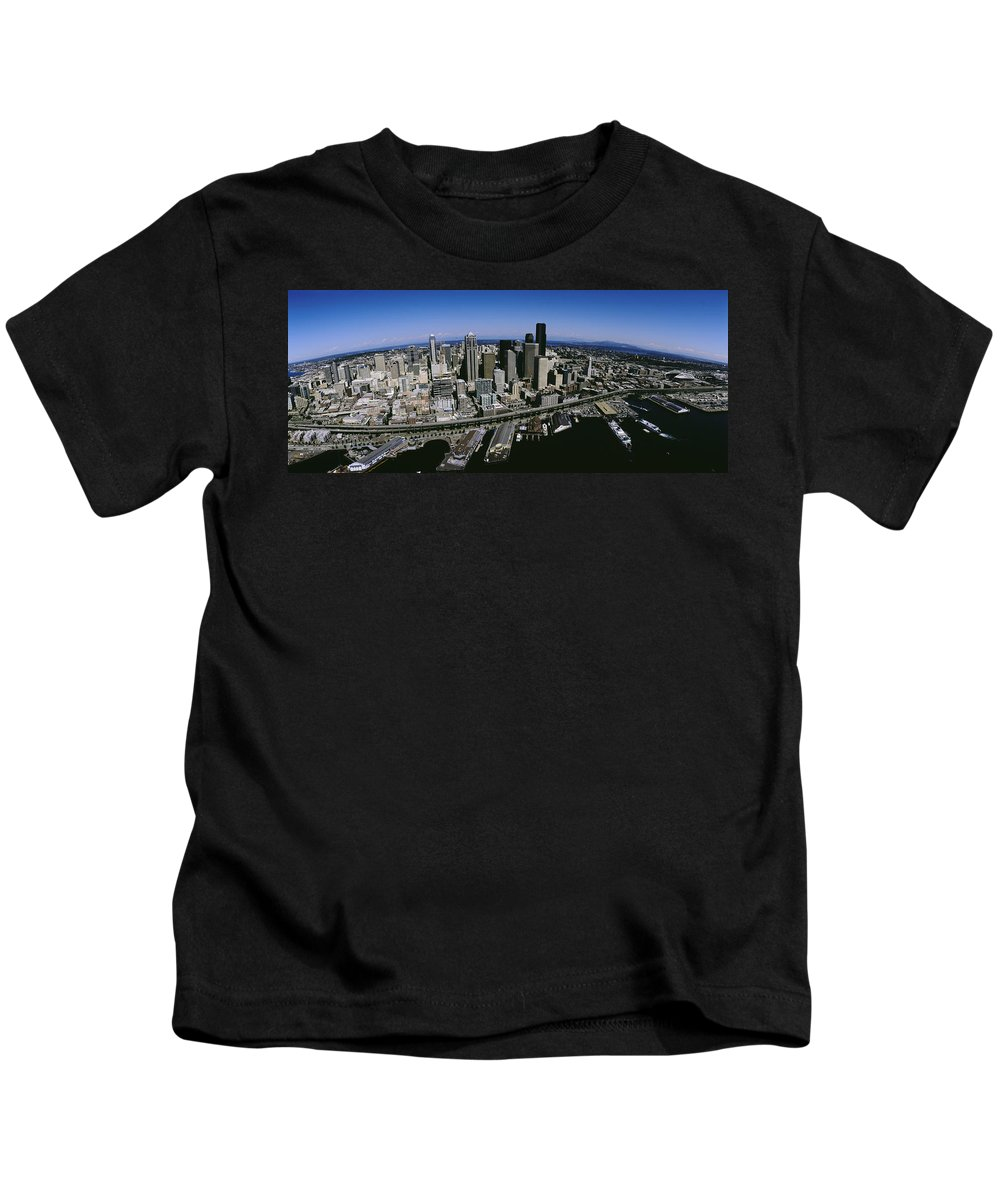 Photography Kids T-Shirt featuring the photograph Aerial View Of A City, Seattle by Panoramic Images