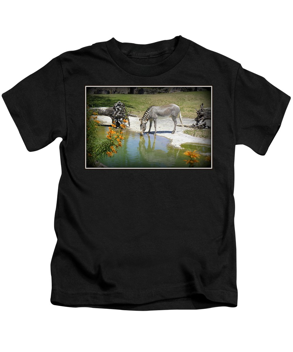 Zebra Kids T-Shirt featuring the photograph African Queen by Laurie Perry