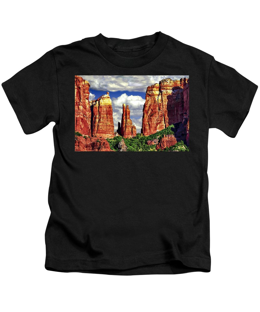 Cathedral Rocks Red Rock State Park Sedona Arizona Cathedral Rocks Kids T-Shirt featuring the painting Afternoon Cathedral Rocks Saddle View Red Rock State Park Sedona Arizona by Bob and Nadine Johnston
