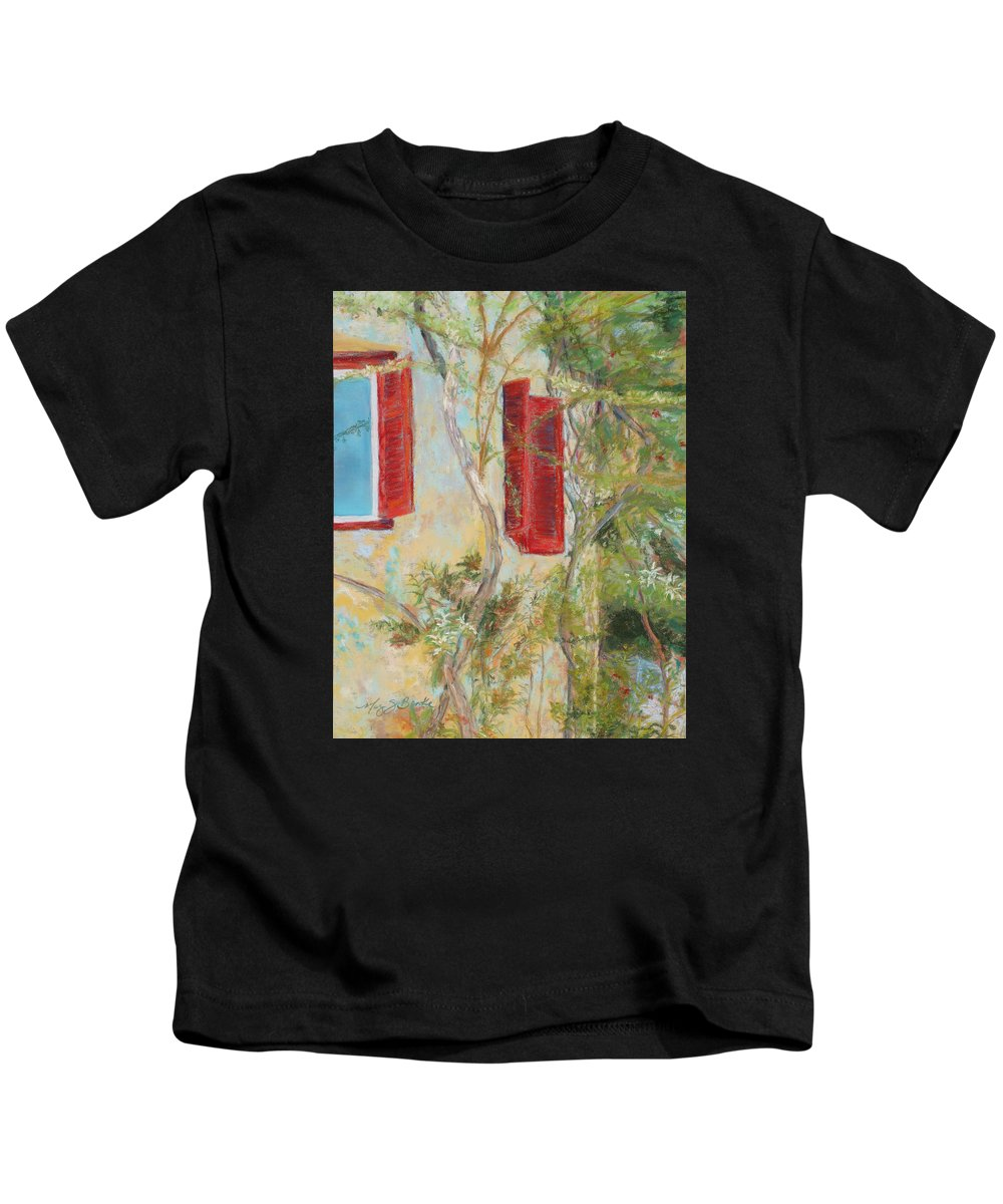 Europe Kids T-Shirt featuring the painting Afternoon In Athens by Mary Benke