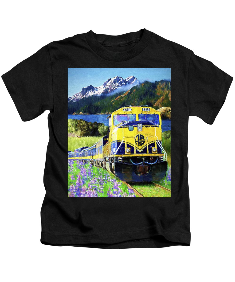 Railroad Kids T-Shirt featuring the painting Alaska Railroad by David Wagner