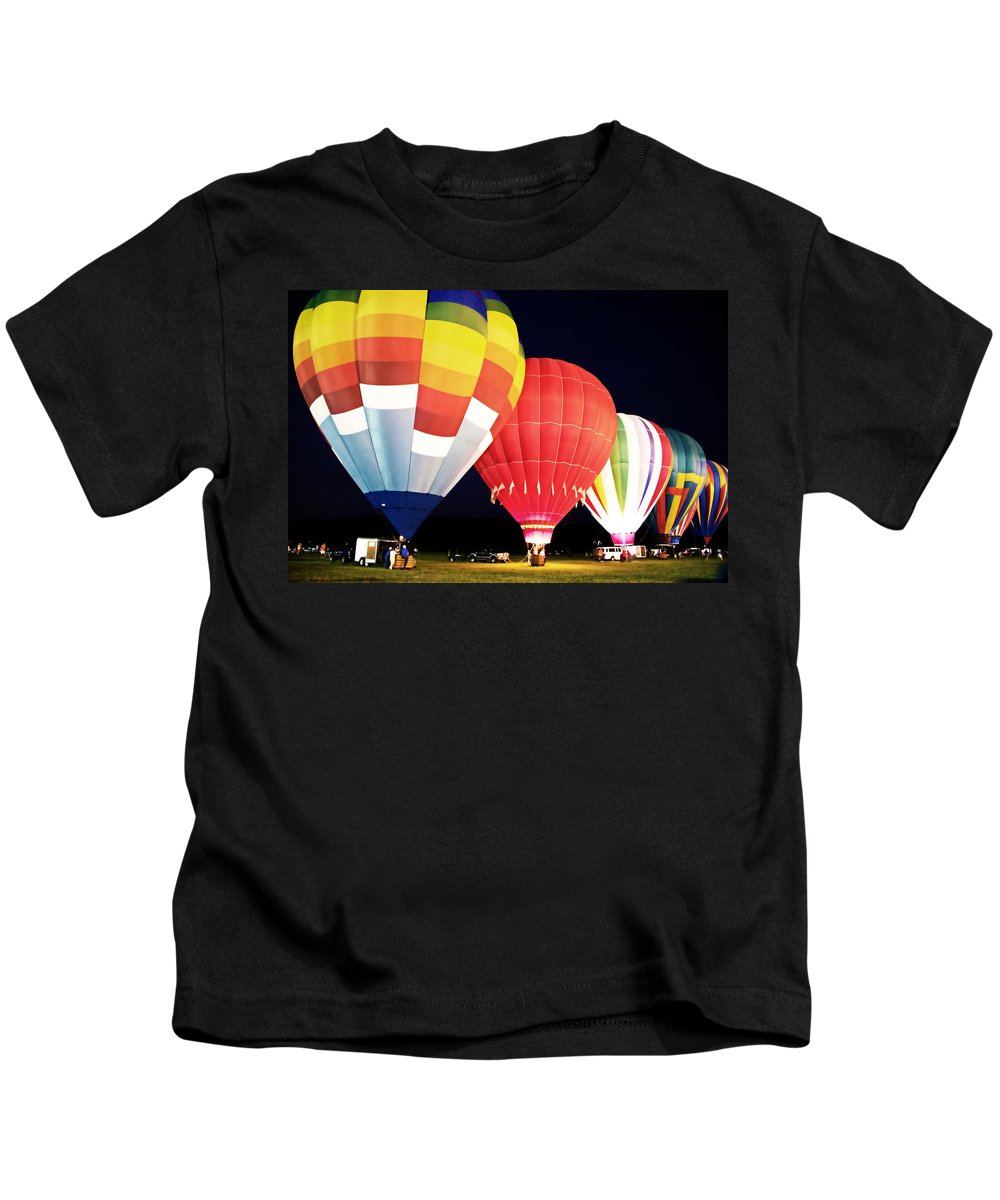 Hot Air Balloons Kids T-Shirt featuring the photograph All Blown Up by Alice Gipson