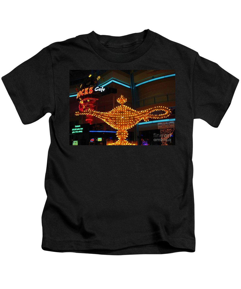 Las Vegas Kids T-Shirt featuring the photograph Alladins Lamp by John Malone