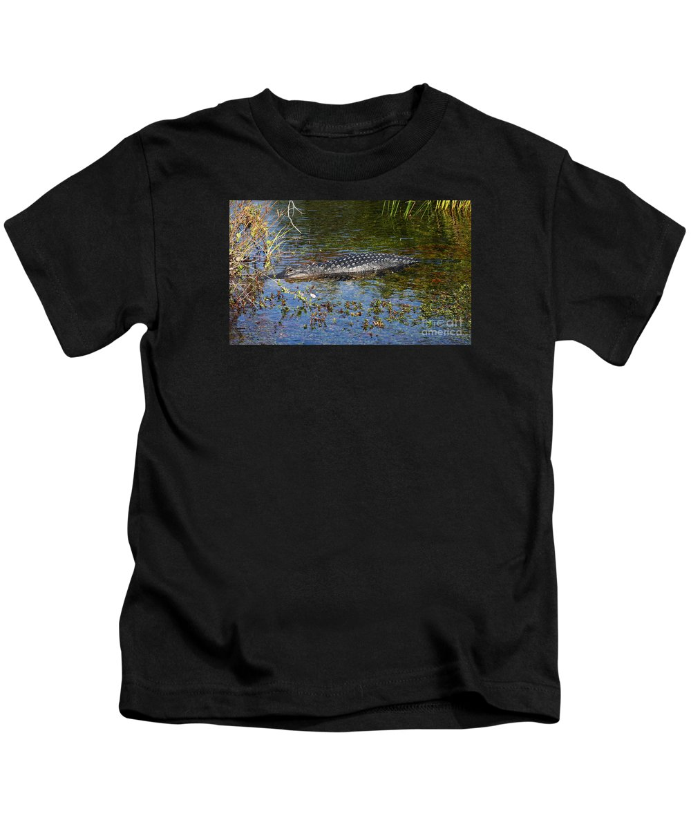 Alligator Kids T-Shirt featuring the photograph Alligator Swimming In Blue Water by Christiane Schulze Art And Photography