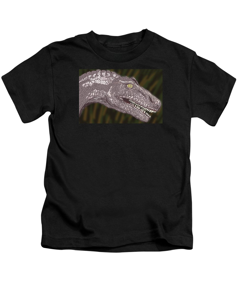 Dinosaur Kids T-Shirt featuring the digital art Allosaurus by Jeffrey Oleniacz