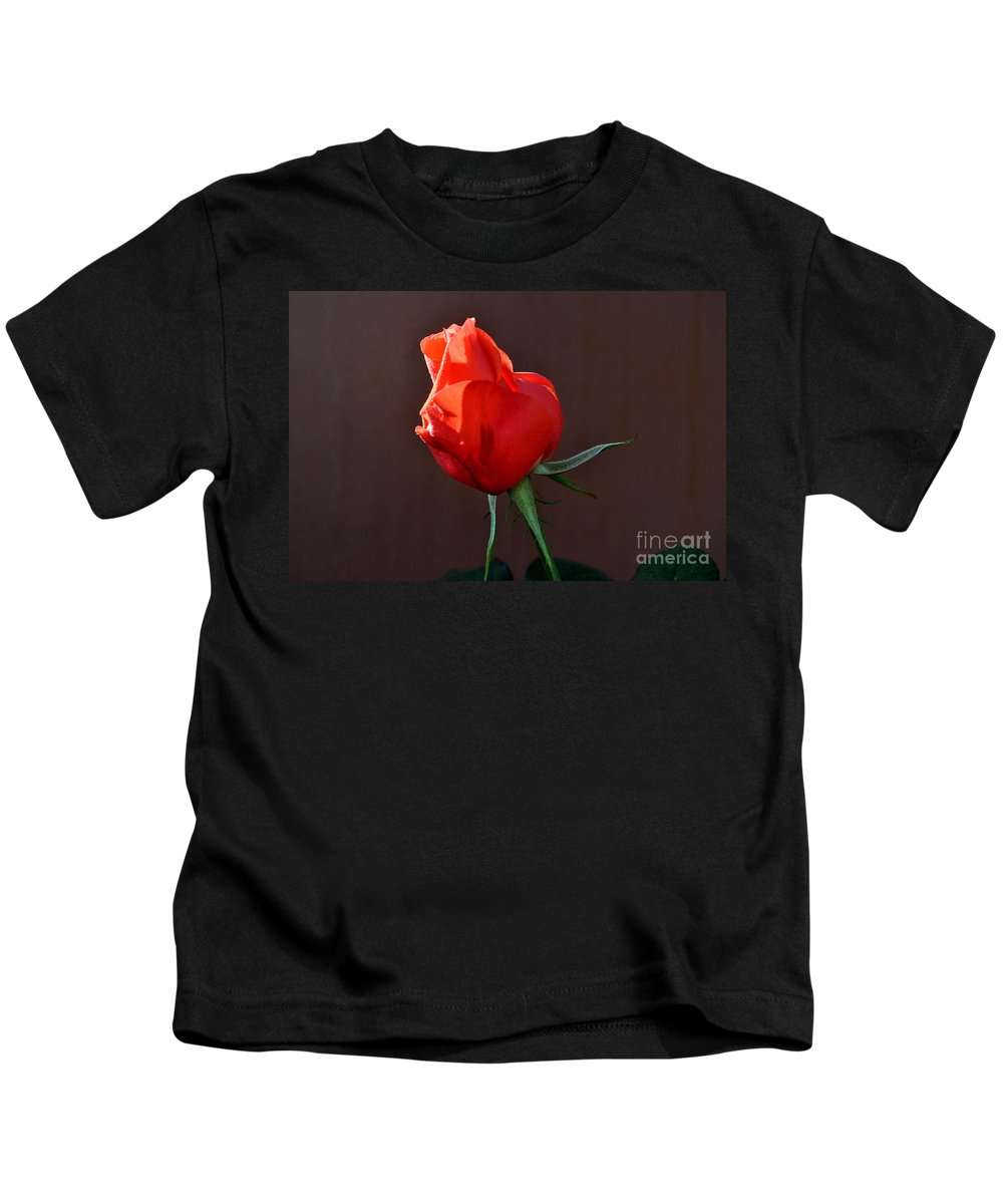 Single Bud Kids T-Shirt featuring the photograph Almost Ready To Awaken by Jay Milo