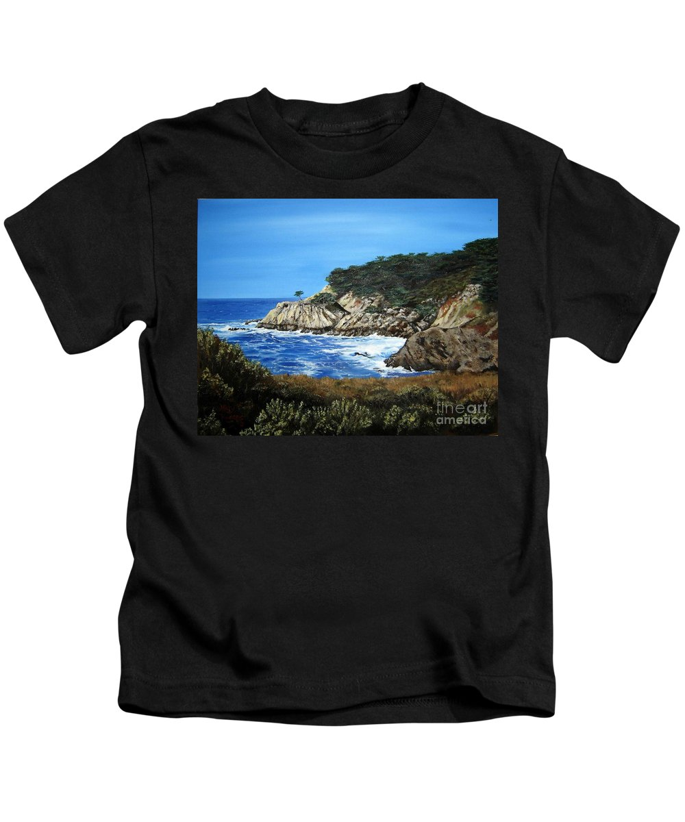 Landscape Kids T-Shirt featuring the painting Along The California Coast by Mary Rogers