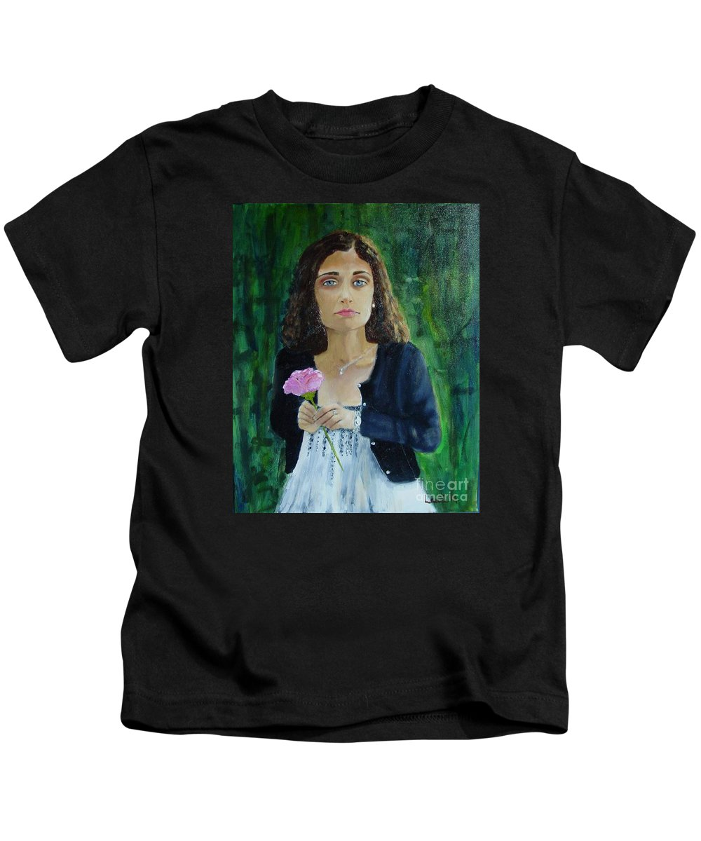 Portrait Kids T-Shirt featuring the painting Aly by Laurie Morgan