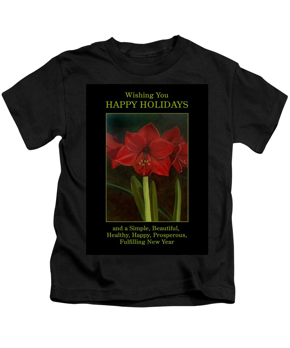 Amaryllis Kids T-Shirt featuring the painting Amaryllis Flower Holiday Card by Nancy Griswold