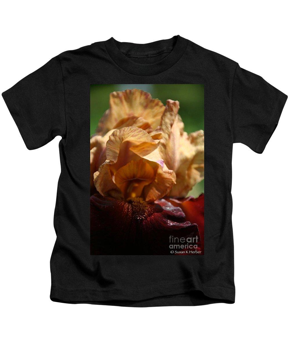 Flower Kids T-Shirt featuring the photograph Amber Iris Waves by Susan Herber
