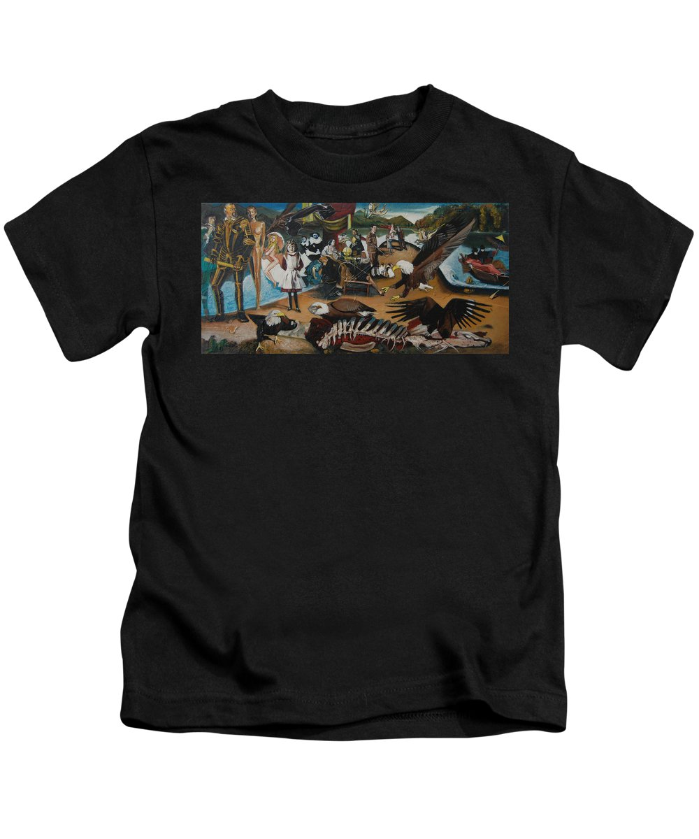 Unfinished Kids T-Shirt featuring the painting America The Beautiful by Jude Darrien