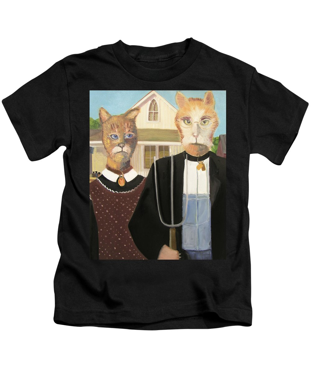 American Gothic Kids T-Shirt featuring the painting American Gothic Cat by Gail Eisenfeld