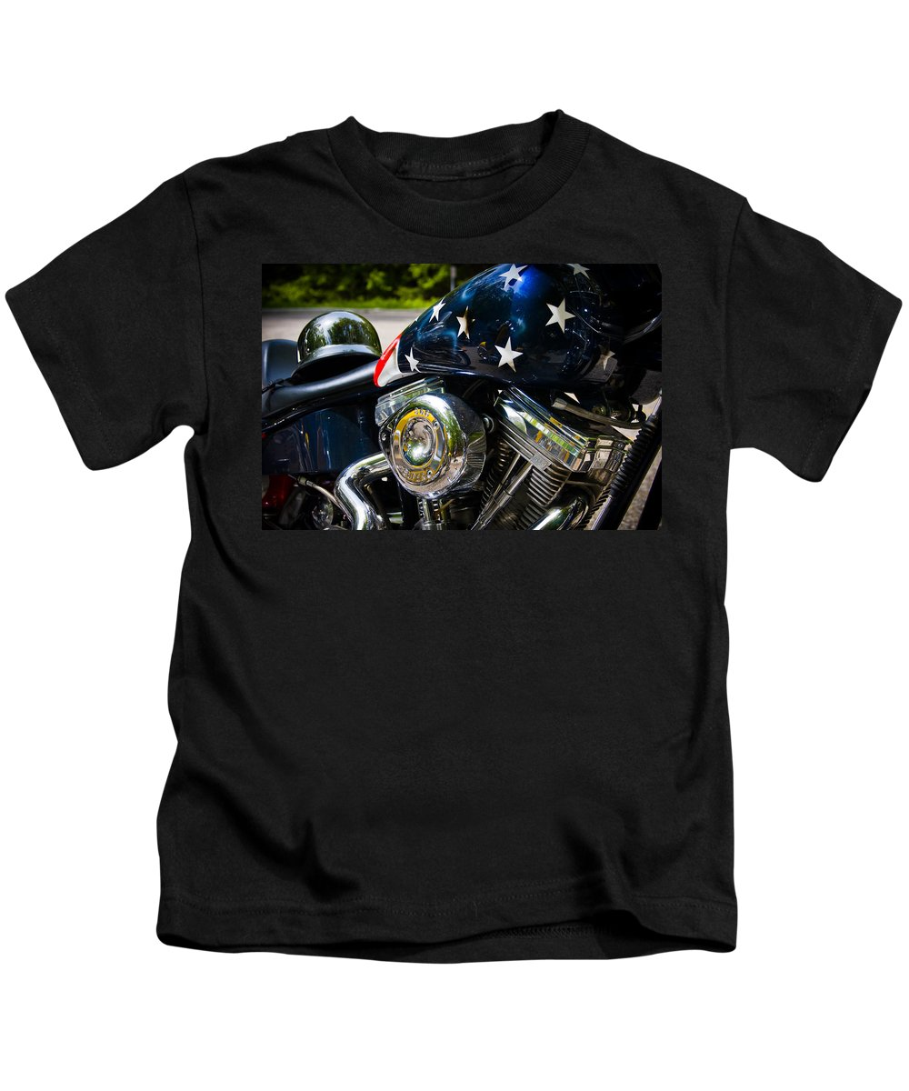 3scape Photos Kids T-Shirt featuring the photograph American Ride by Adam Romanowicz