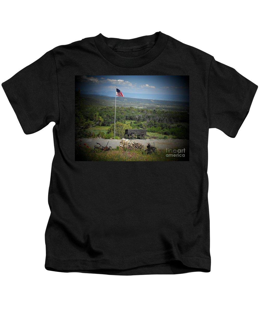 Usa Kids T-Shirt featuring the photograph American Wagon by Brandi Maher