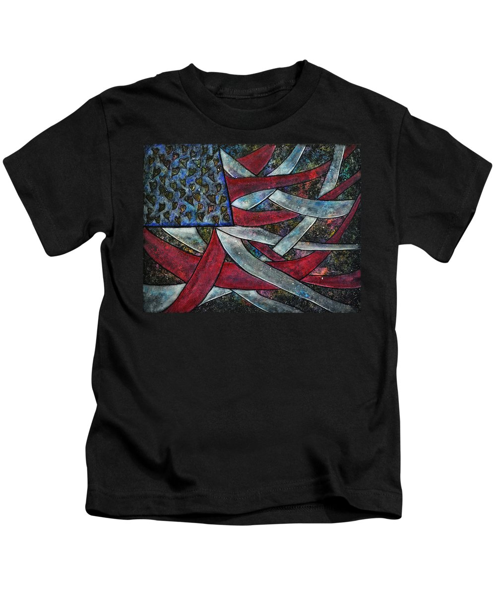 American Flag Kids T-Shirt featuring the painting America's Journey by Wendy Anderson